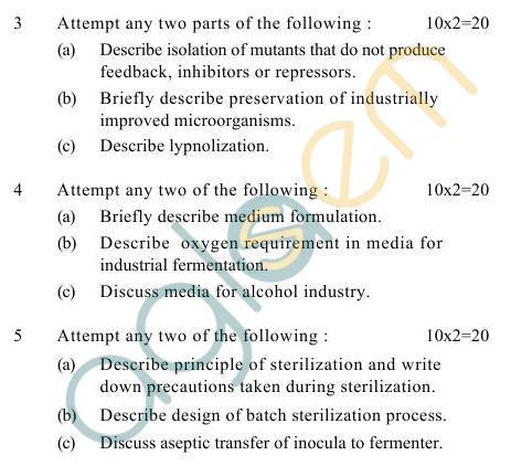 UPTU B.Tech Question Papers -TCA-601- Industrial Fermentation-I