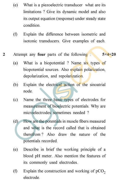 UPTU B.Tech Question Papers - EE-024 - Bio-Instrumentation