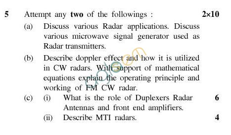 UPTU: B.Tech Question Papers -TEC-604-Microwave Radar Engineering