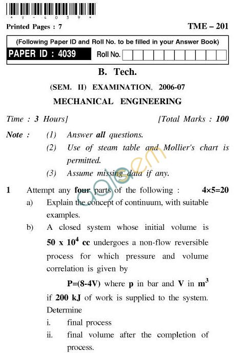 UPTU: B.Tech Question Papers - TME-201 - Mechanical Engineering