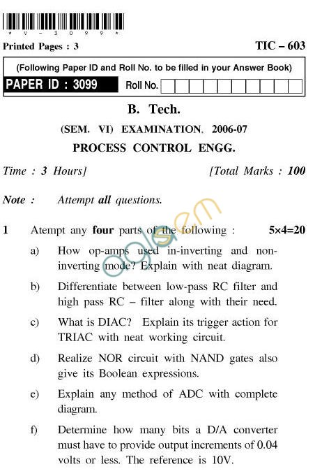 UPTU: B.Tech Question Papers - TIC-603-Process Control Engieering