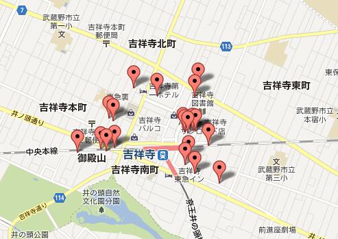 吉祥寺駅界隈駐輪場マップ