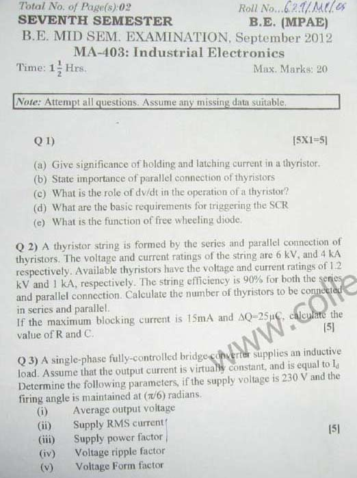 NSIT Question Papers 2012 – 7 Semester - Mid Sem - MA-403