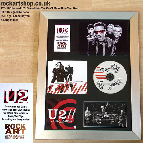 U2 Sometimes You Can't Make It on Your Own Signed Framed Music Display