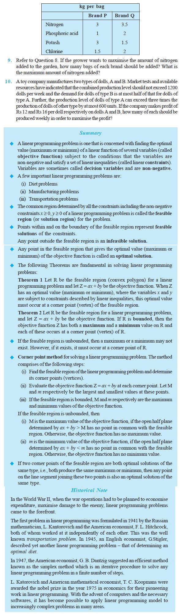 NCERT Class XII Maths Chapter 12 - Linear Programming
