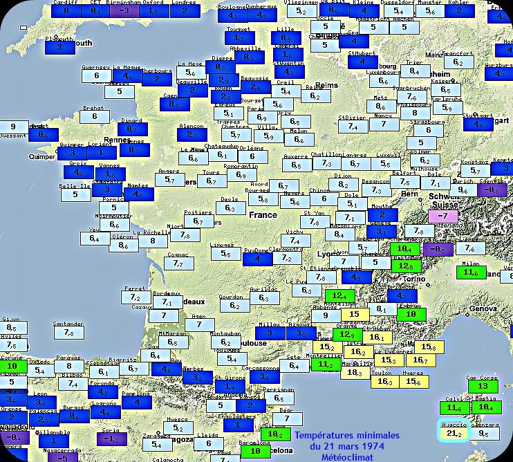 températures minimales et records de douceur du 21 mars 1974 météopassion