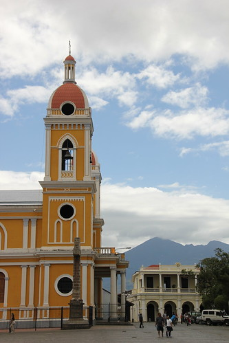 Colonial buildings and a volcano