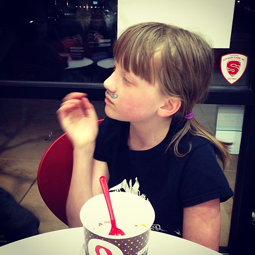 My child is related to @carringtonschaeffer. She went to red mango with a mustache drawn on her face.