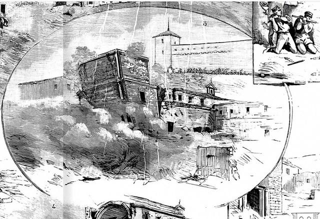 Derrumbe de la torre de la iglesia del Hospital de Santiago en la voladura del edificio en 1884. Detalle de una xilografía de Masí.