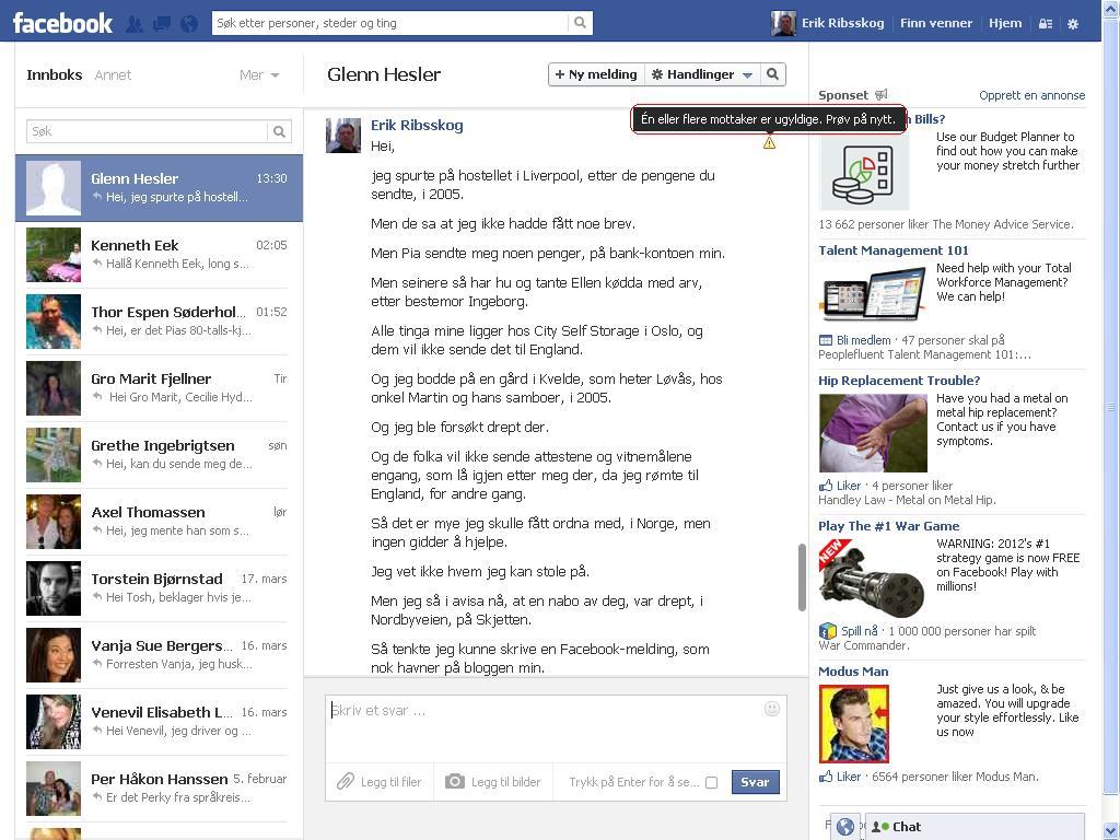 facebook feil glenn hesler