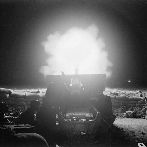 British Gunners  firing  QF 25 pounder  near El Alamein 23rd October 1942.