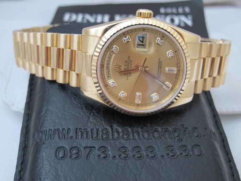 Bán đồng hồ rolex day date 6 số 118238 – vàng 18k yellow – mặt hạt xoàn – 36mm