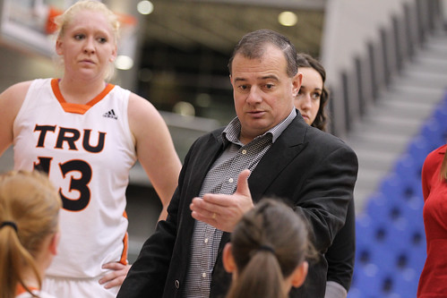 Coach Reeves in huddle vs UBCO (Jan 5, 2013 Snucins)