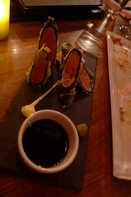 salmon & ahi tuna tempura roll