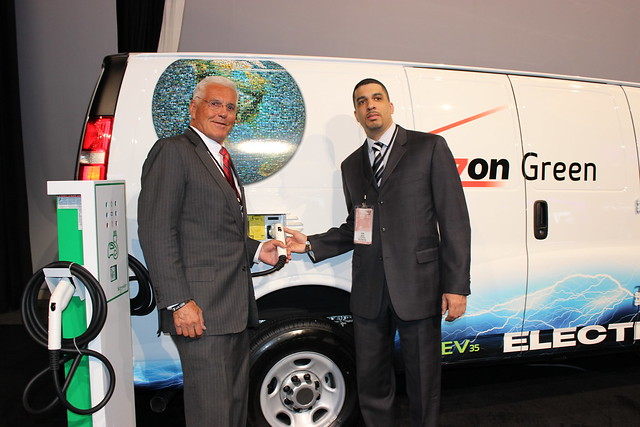Bob Lutz (left), the legendary auto industry executive and father of GM's Chevy Volt, and Verizon VP of Fleet Ken Jack were on hand to unveil Verizon and VIA's new fleet van from the Detroit floor show.