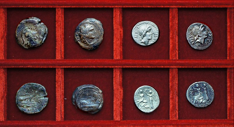 RRC 334 L.POMP Pomponia bronzes, RRC 335 L.METEL C.MALL A.ALB Caecilia Mallia Postumia denarii, Ahala collection, coins of the Roman Republic