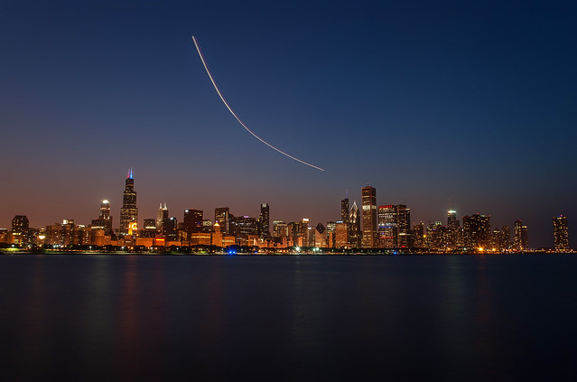 Night Flight Skyline @ Chicago Illinois