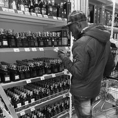 liquor store, monochrome photography, monochrome, black-and-white,