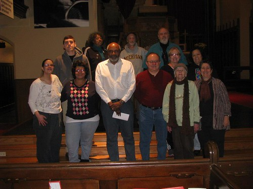 Abayomi Azikiwe (third from left in front row), editor of the Pan-African News Wire, with members and volunteers of the Detroit MLK Committee at Central United Methodist Church on January 19, 2013. (Photo: Stephen Fuzzytek) by Pan-African News Wire File Photos
