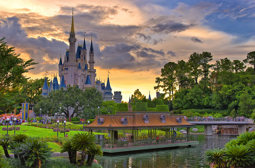 sunset orlando nikon florida disney waltdisneyworld hdr themepark magickingdom cinderellascastle photomatix nikcolorefex d7000 photoshopcs6