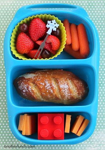 soft pretzel and Lego Bynto bento