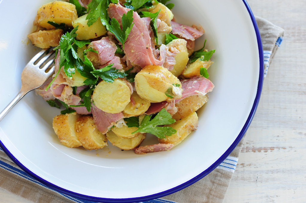 warm potato salad with ham