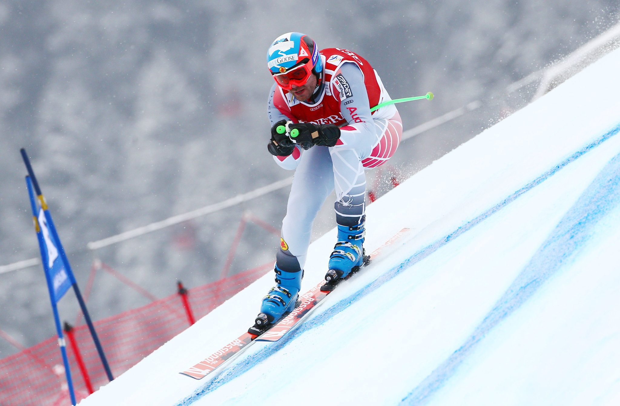 Jan Hudec holds his tuck in the men's super-G in Kitzbühel, Austria.