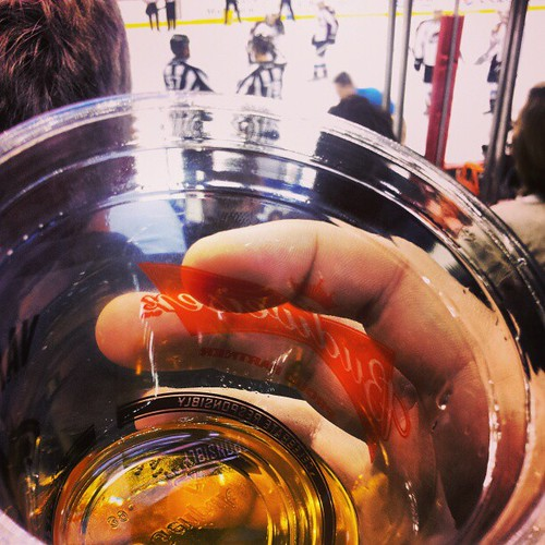 Gratuitous hockey and beer shot.