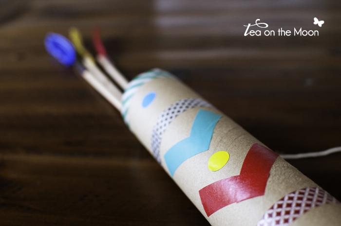 Porta flechas indios DIY decorado