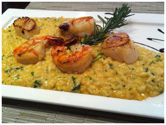 Shrimp and scallop risotto, Le Sesflo - Geneva, Switzerland