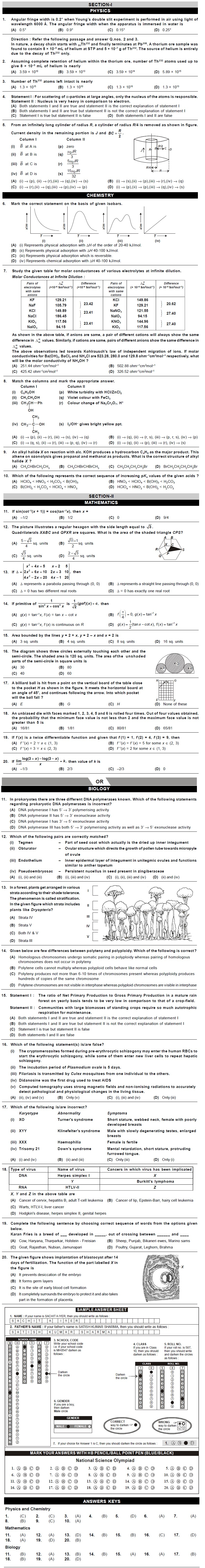 NSO 2nd Level Sample Papers for Class 12