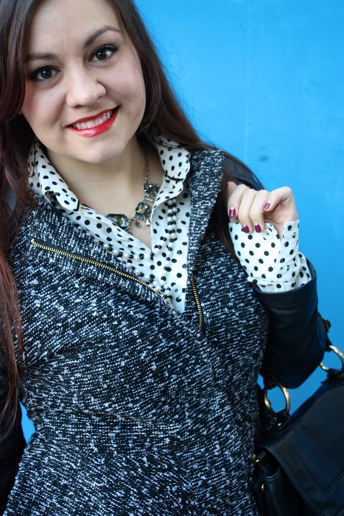 SF Bay Area Fashion & Style Blog - Black & white, polka dot shirt, tweed & leatherette peplum jacket, pearl necklace, gunmetal bejeweled necklace, maybelline super stay 10 stain gloss in cool coral, half moon manicure - 2013 outfit