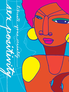 A colorful poster about sex-positivity by Rodriguez. Against a bright blue background, there is an abstract female figure with brown skin, pink hair, and large gold earrings next to the words Liberate Your Sexuality.
