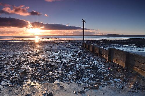 sea sky clouds sunrise star lough tide belfast burst groyne carrickfergus ebbing
