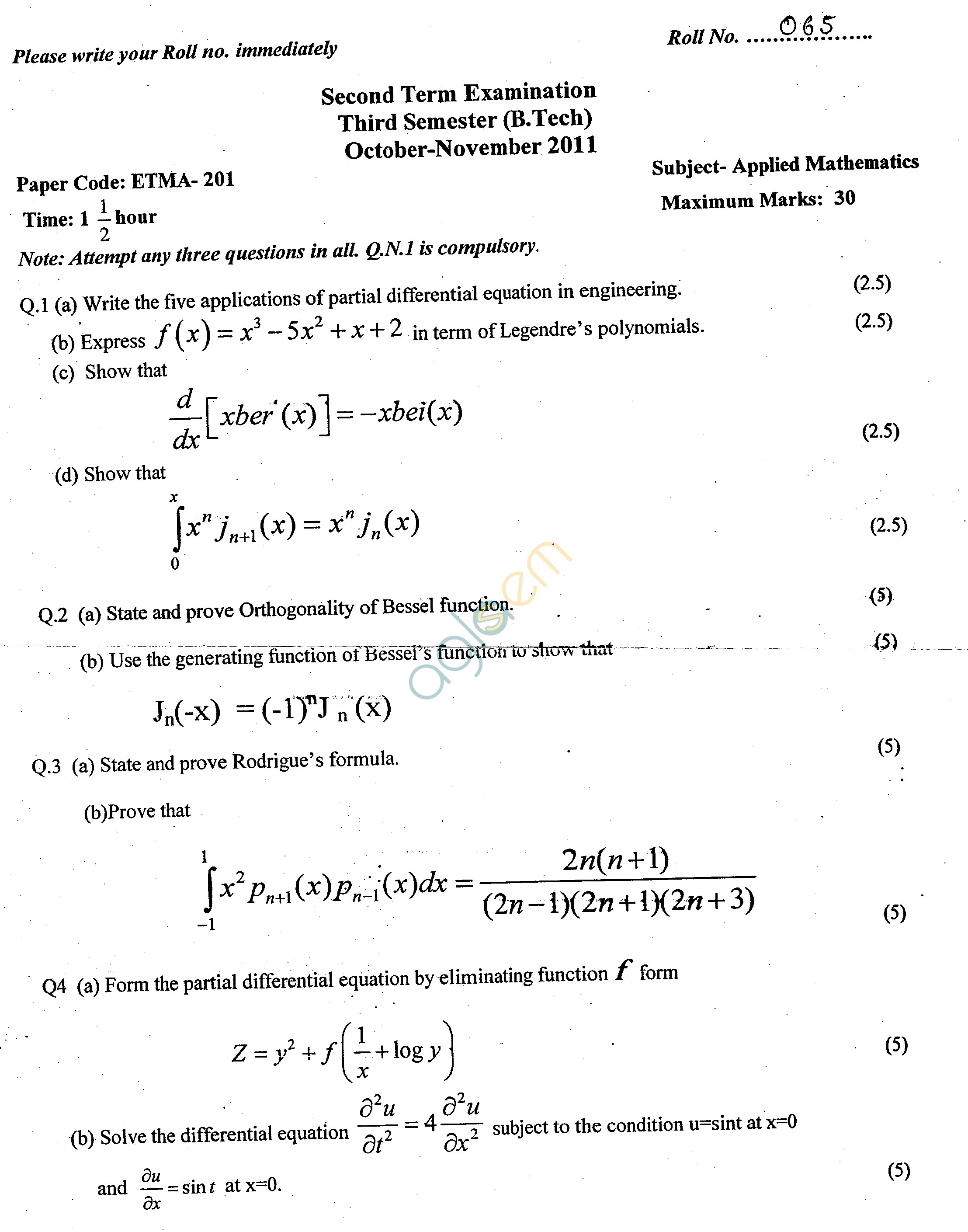 GGSIPU Question Papers Third Semester – Second Term 2011 – ETMA-201