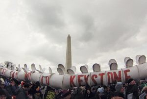 Environmental demonstration on Feb. 17, 2013 in Washington, D.C. protested the proposed XL Keystone pipeline and other issues. Thousands gathered to call for reversal of governmental policy on climate change. by Pan-African News Wire File Photos