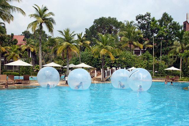 Water balls rolling around the pool