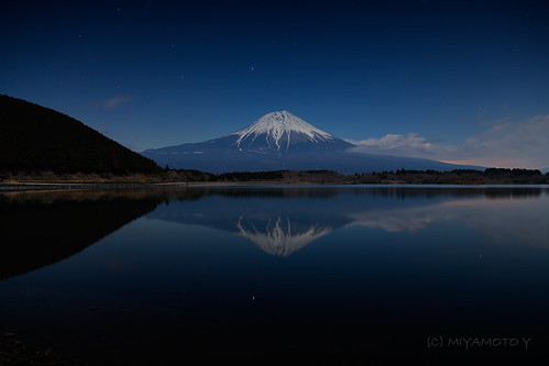 winter lake reflection japan star moonlight nightview mtfuji 2013