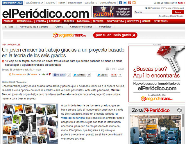 Artículo en la web - El Periódico (25.02.2013) - castellano