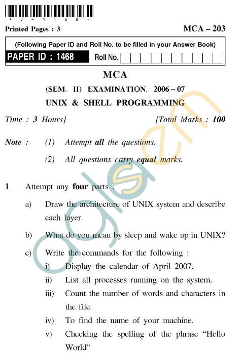 UPTU MCA Question Papers - MCA-203 - Unix & Shell Programming