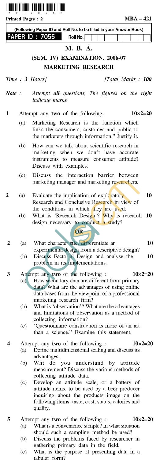UPTU MBA Question Papers - MBA-421-Marketing Research