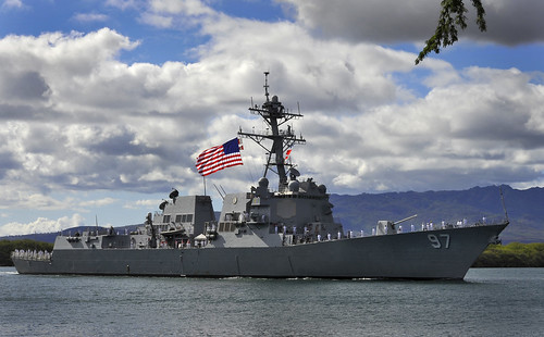 "PEARL HARBOR-HICKAM - The guided-missile destroyer USS Halsey (DDG 97) will arrive at its new homeport of Joint Base Pearl Harbor-Hickam, after a successful ""hull swap"" with USS Russell (DDG 59) in San Diego in January."