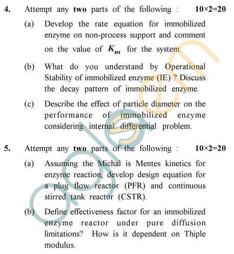 UPTU B.Tech Question Papers - BE-803 - Enzyme Engineering