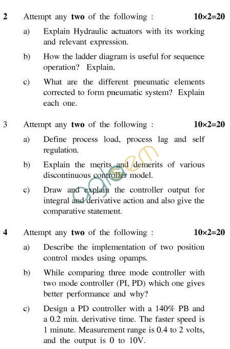 UPTU: B.Tech Question Papers -TIC-603-Process Control Engieering