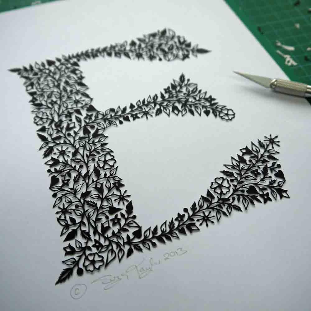 'E' papercut. © Suzy Taylor