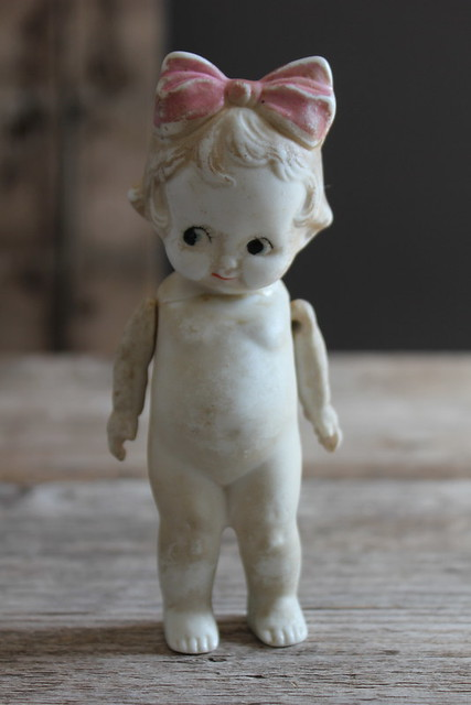 I love this darling antique jointed Bisque Doll