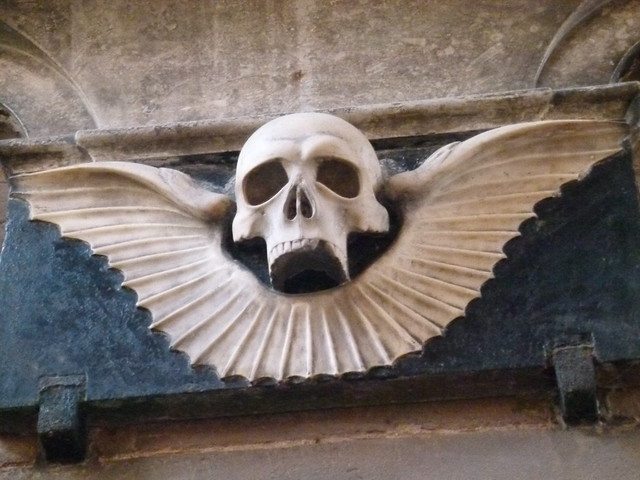St Mary's Church: winged skull