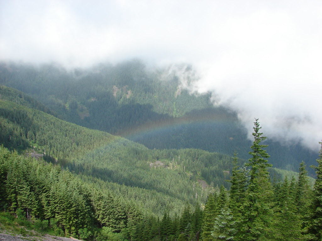 Rainbow seen from the Mt. Defiance Trail