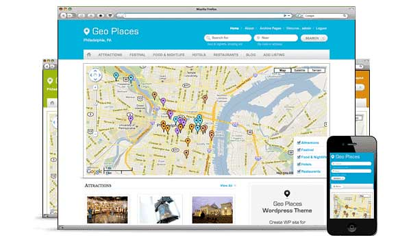 WordPress directory theme geoplaces templatic