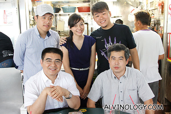 (Clockwise from left) Darren, Claire, Smith and Tech with Chen Guangbiao